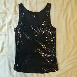 New York & Co. Black Sequin Tank/Top M/L